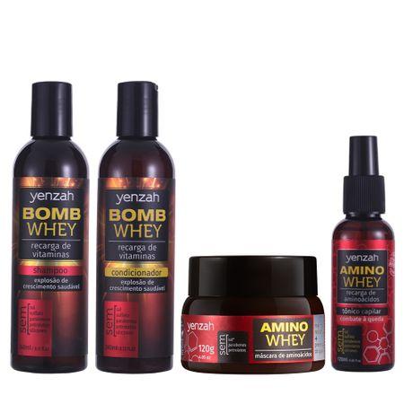 Kit-Yenzah-Projeto-Rapunzel-com-shampoo-e-condicionador-Whey-Bomb-Cream-e-mascara-e-tonico-antiqueda-Amino-Whey