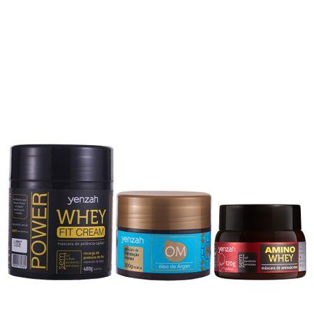 Cronograma-Capilar-Yenzah-Kit-com-mascara-Whey-Fit-cream-mascara-OM-oleo-de-argan-e-mascara-Amino-Whey