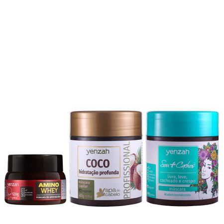 Kit-Yenzah-transicao-capilar-com-mascara-Amino-Whey-mascara-sou-cachos-hidranutri-e-mascara-Spa-do-cabelo-Coco