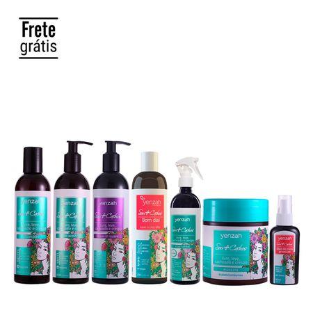 Linha-Completa-Sou-mais-Cachos-2-e-3-Yenzah-com-shampoo-low-poo-condicionador-co-wash-leave-in-suave-leave-in-bom-dia-day-after-agua-termal-capilar-mascara-hidranutri-oleo-de-coco-premium