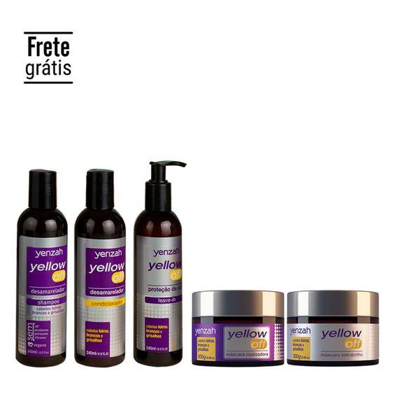 Linha-Completa-Yenzah-Yellow-Off-com-shampoo-condicionador-leave-in-mascara-matizadora-e-mascara-extrabrilho