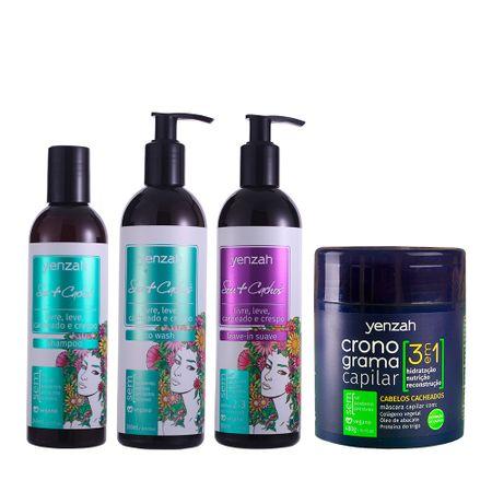 Kit-Yenzah-Sou-Cachos-2-e-3-com-Cronograma-3-em-1-Cachos-leave-in-suave-shampoo-low-poo-e-condicionador-co-wash