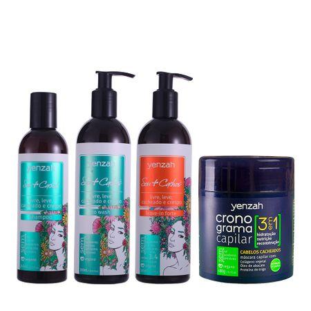 Kit-Yenzah-Sou-Cachos-3-e-4-com-Cronograma-3-em-1-shampoo-low-poo-condicionador-co-wash-e-leave-in-forte